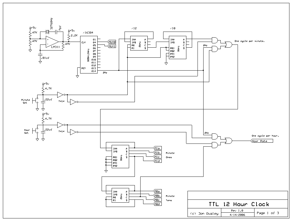 Digital Clock Circuit Using 7490 http://galacticelectronics.com/12HourTTLClock.HTML
